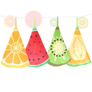 Lovely Fruit Print Hanging Kitchen Hand Towel Microfiber Towels Quick-Dry Cleaning Rag Dish Cloth Wiping Napkin GWC4018