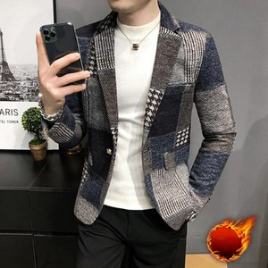 Men Plaid Suit Korean Mens Slim Fit Blazer Jacket Autumn Add Velvet Warm Mens Stylish Blazer Chaqueta Hombre Formal Suit Coat