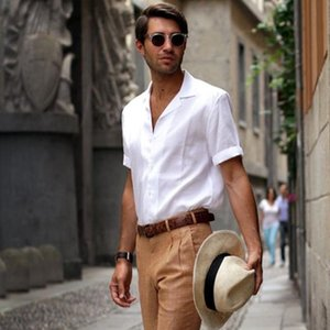 Men's short-sleeved shirt 2020 summer casual solid color European and American street thin business slim large size sleeve shirt