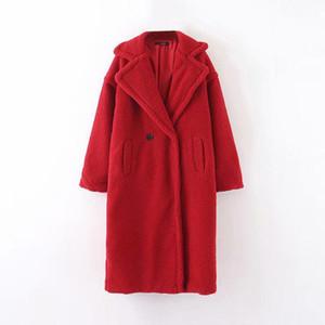 casual winter solid female stuffed coat long sleeve long fleece jacket turn down collar lamb fur coat outerwear