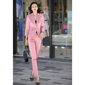 New Autumn Polyester 100% Pant Suits For Women 2 Piece Set Formal Blazer Striped Jacket Trousers Office Lady Plus Size S-4XL