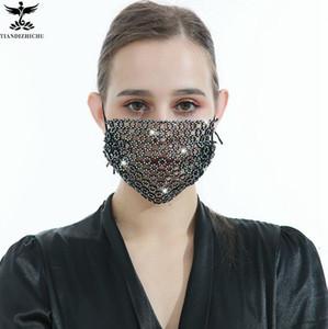 Rhinestone Mesh Cover Bling Crystal Masquerade Ball Party Nightclub Mouth Covering for Women Girls Mesh Rhinestone Jewlery masks KKA8304