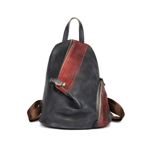 2020 autumn and winter new first layer cowhide retro backpack large capacity leather college style backpack