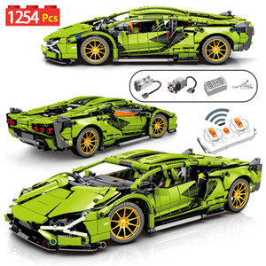 1254Pcs City Technic RC non-RC Sports Car Building Blocks Creator Remote Control Racing Vehicle MOC Bricks Toys For Children Q1127