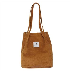 Women Corduroy Tote Ladies Casual Solid Color Shoulder Bag Foldable Reusable Women Shopping Beach Bag