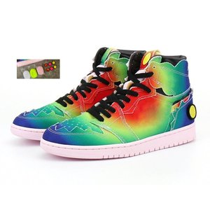 Box J Balvin Jumpman 1 High Og Jbalvin Basketball Shoes 1S 컬러 Y Vibras Tie 염료 멀티 컬러 여성 운동화 트레이너 48FB #