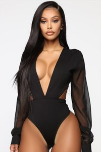 2019 Women Lace Bodysuit Sexy Deep V Neck Flare Sleeve Playsuit Romper Ladies Backless Mesh Long Sleeve Out Body Suit Overalls