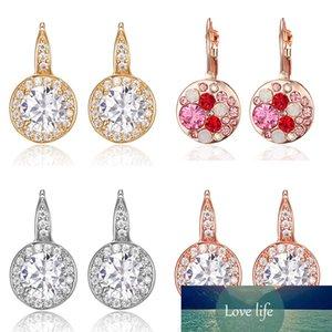 New Earrings Rose Gold Crystal CZ Bling Earrings Crystal Round Earrings for Women Girls Gift Fashion Wedding Jewelry