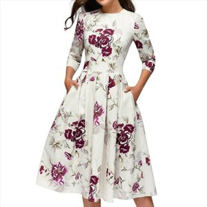 Summer Dress Women Vintage Floral Print A line Party Vestidos Evening Multicolor Elegant Midi Dresses High Waist Pocket Sundress