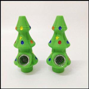 Silicone tubos de fumar tubos de mão de Natal árvore forma tabaco colher acessórios fumo acessórios de cachimbo criativo cigarro de silicone cigarro presente de natal