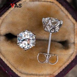 حقيقي 0.5-1 قيراط د اللون moissanite أقراط للنساء أعلى جودة 100٪ 925 فضة تألق مجوهرات الزفاف