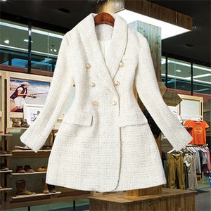 Runway Designer Women's Double Breasted Metal Button Long Sleeve Notched Collar Jacket Wool Blends Tweed Blazer Coat Y201026
