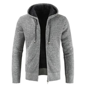 Winter Men's Wear Bring Hat Cardigan Sweater Loose Coat Tide Increase Down Thickening Long Sleeve Knitting Unlined Hat Sweaters