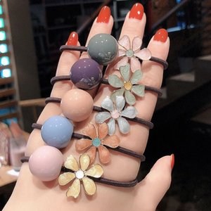 Sweet Daisy Flower Hair Bands for Women Candy Color Ball Ornament Scrunchie Elastic Hairband Hair Accessories for Girls