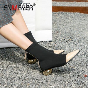 ENMAYER 2020 Winter Boots Round Heels Women Basic Pointed Toe Stretch Fabric Luxury Shoes Women Designers Ankle Boots Size 34-39