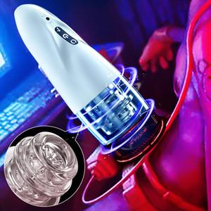 Automatic Male Masturbator Hands Free Stroker 10 adjustable frequencies Masturbator Cup Real Vagina Pocket Sex Toy for Men Y201118