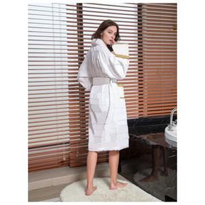 Venta caliente Mujer Hotel Sleepwear Classic Europea Unisex Albornoz de manga larga Hombres Robe Lujos Pijamas Ropa interior Camisetas para dormir