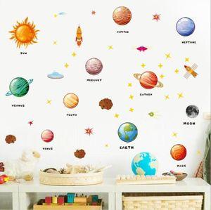 Planetas de la etiqueta de la pared Pegatinas de la pared para guardería Kids Habitaciones Decoración Espacio exterior Planetas Decoración para el hogar Mural DIY Art Art PVC Decalos DDC4570