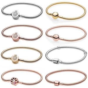 2021 Yeni 100% 925 Ayar Gümüş İmza Moments Köpüklü Taç O Yılan Zincir Bilezik Fit Kadın Orijinal Moda Takı