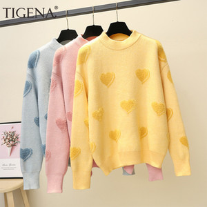 Tigena cuore modello maglione maglione maglione donna jumper 2019 inverno coreano kawaii carino manica lunga maglione lanuginoso femmina giallo ly191210