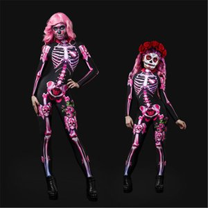 Halloween Horror Skull Rose Skeleton Jumpsuit Women Cosplay Costume Children's Clothing Adult Playsuits Skinny jumpsuits