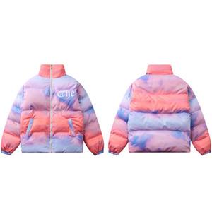 Männer Hip Hop Jacke Parka Streetwear Stickerei Jacke Windjacke Harajuku Gepolsterte Jacke Mantel Winter Warme Outwear Dicke Reißverschluss