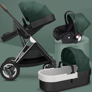 Новая детская коляска 3 in1, четыре колеса коляска, 2 в 1 детская машина, Kinderwagen складной новорожденного перевозки, высокие ландшафтные коляски