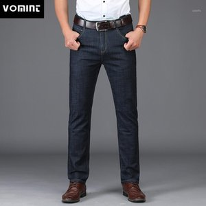Vomint New Men Jeans Business Style Design Elastico Smart Casual Casual Straight Long Jeans MS18021