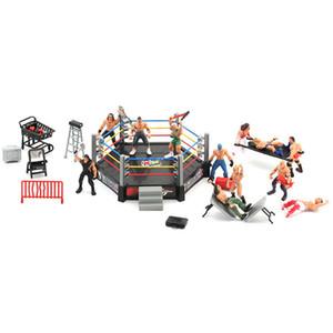 Wrestler Athlete Wrestling Figure Gladiator Model Set with Fighting Station Arena Cage Assembled Battle Game Toy for Boys Z1120 Z1120