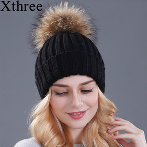 Xthree Natural Mink Fur Winter for Women Girl 's Knitted Beanies Hat With Pom Brand Thick Female Cap Skullies Bonnet C1123 C1128