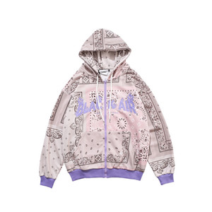 Bandana Print lettres Broderie Cardigan Sweat à capuche Nouveautés Streetwear Sweatshirts Sweatshirts à capuche Mode Taille M-2XL