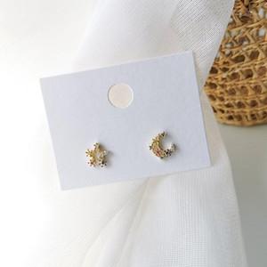 2020 New sweet fashion star moon modelling earrings shiny multicolor crystal asymmetric Hollow metal flowers Women Stud earrings1