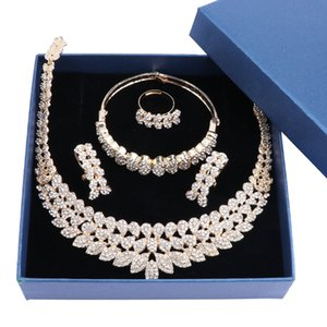 Fashion Jewelry Set for Women Crystal Bridal Jewelry Sets Party Fashion Costume Necklace Earrings Jewellery with Gift Boxes Z1201