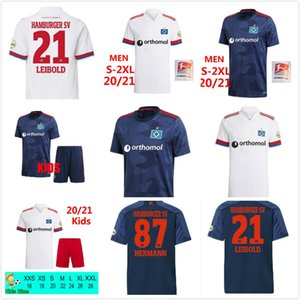 2020 2021 Hamburger SV Fussball Trikots Home White Away Blue 20 21 HSV Männer Kinder Uniformen Männer Kinder Kits Sets Fußball Hemden Uniformen 2XL
