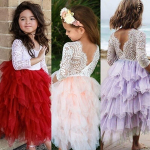 Vestido de chicas 2020 otoño de verano vestido de encaje de manga larga blanco Primera comunión Vestido de niños sin respaldo Tulle Tutu Princess Cumpleaños Vestidos de fiesta