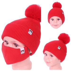 2021 niños invierno gorros cálidos ski al aire libre chicas punto gorra gorras gorras con máscara cara 2 pieza traje ciclismo deporte slouchy headwear e112306