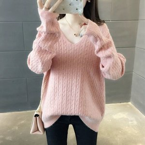 QRWR 2020 Autumn Winter Sweater New Korean Style O Neck Knitted Loose Long Sleeve Solid Color Pullover Sweaters Women Q1114