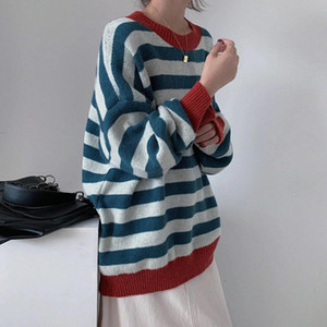 Vintage Women Sweater Lantern Sleeve Unif Sweater Winter Goods Jumper Striped Oversize BF Knitwear Man Couple Pullover #g47Y