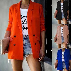 Women Suit Blazer Slim Work Jacket Buttton Long Sleeve Outwear Suit Autumn Casual Coat