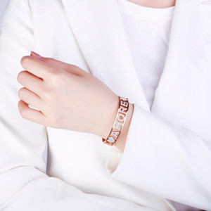 Rose Gold Amore Crystal Letter Bangle Bracelet For Women Stainless Steel Gift Jewelry Bijoux femme 2020 Wholesale
