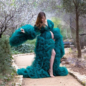 Dark Green Maternity Evening Dresses Illusion Tiered Ruffles Photoshoot Babyshower Bathrobe Gowns Kimono Party Birthday Dress