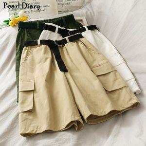 Pearl Diary Women Belted City Shorts Cintura de alta altura Cinturón desmontable Tejido Verano Equipo informal Corta con bolsillos de colgajo Cargo