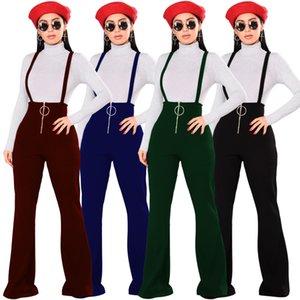 Taille haute Womens Bib Pants Sexy Slim Zipper Flare Pantalon Casual Pantalon Décontracté Fashion Élégant Combinaison Femmes Combinaisons Jumpsuits