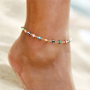 2021 New Foot Jewelry Creative Minimalist Harry Potter Seven Color Water Drops Devil Eyes Foot Chain