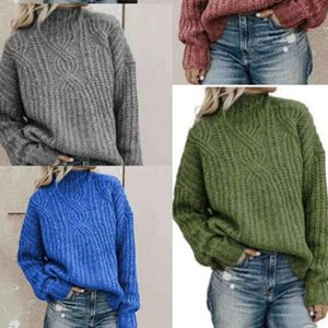 Women Warm Solid Color Sweater Turtleneck Pullovers Fashion Solid Long Sleeve Sweater Female Loose Knitting Winter Clothes