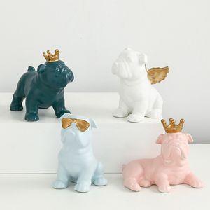 Bulldog تمثال تاج نظارات ملاك محاكاة الحيوان السيراميك الحرفية غرفة المعيشة ديكور L2935