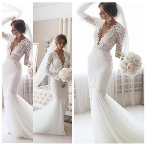 Stunning Deep V-Neck White Trumpet Wedding Dresses with Sleeves Sexy Backless Lace Mermaid Wedding Dress Robe Mariee Wedding Gowns