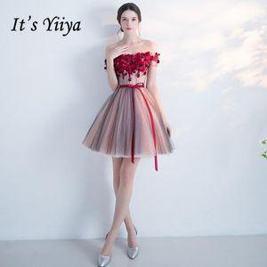 É Yiiya Vermelho Popular Sem Mangas Bonitas Bonitas Appliques Cocktai Vestidos Padrão Flor Sashes Bow Cocktail Dress L0131