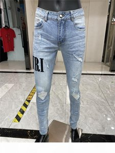 New Style Mens Designer Pencil Jeans Letter Printed White Denim Pants Fashion Club Clothing for Male Free Shipping Hip Hop Skinny Jeans 1324