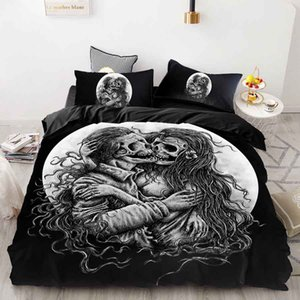 WOSTAR home textile 3d Skull Bedding Sets Sugar Black Skull Halloween Style Flower Skull Duvet Cover Linen Cotton luxury Bedding